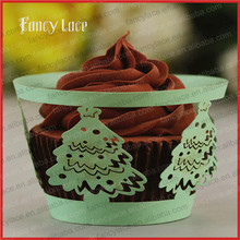 60PCS Wholesale Party Cake Decorations Cupcake Wrappers,Christmas Tree New Laser Cut Paper Wreath Cake Liners Birthday Decors(China)