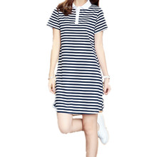 2017 Embroidery Striped Polo Print Casual Dress T Shirt Female Summer Sexy Club Robe Women  Clothing Dresses D77120