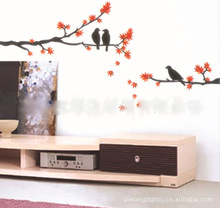 Free Shipping Furnishings  Maple Leaf Flying Flowers Birds Decorative Wall Stickers removable wall sticker