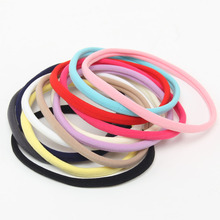 100 pcs/lot, New Solid Color Nylon Elastic Headbands Soft Stretchy