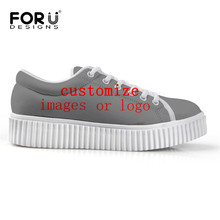 FORUDESIGNS Customize Images or Logo Create Own Designs s Women Platform Flat Shoes Casual Ladies Lace-up Shoes
