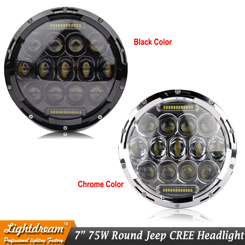 7inch 75W 7 LED Headlight With DRL HIGH LOW BEAM +1pc h4 to H13 Adapter For JK Wrangler Patriot Liberty H1 H2 FJ Cruiser x1PC<br>