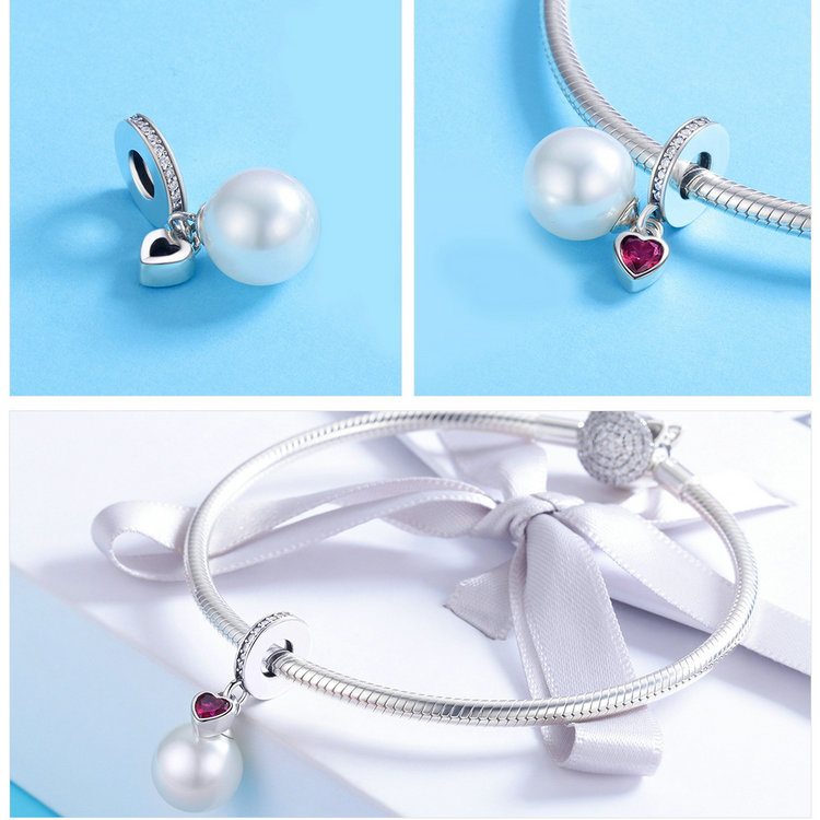 Genuine 925 Sterling Silver Elegant Pearl Heart CZ Pendant Charms