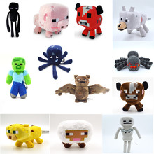 New Arrival Minecraft Plush Toy Enderman Ocelot Pig Sheep Bat Mooshroom Squid Spider Wolf Animal soft stuffed doll kids toy gift