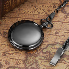New OYW Luxury Mechanical Black Pocket Watch Men Vintage Hand Wind White Skeleton Dial Necklace Pocket Fob Watches Chain Gift