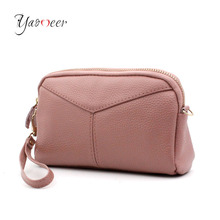 Yaomeer Genuine Leather Women Day Clutch Bags Handbags Women Famous Brands Ladies Wristlet Clutch Wallet Evening Party Bag C01(China)