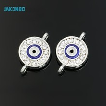JAKONGO Silver Plated Fatima Hamsa Round Evil Blue Eye Connectors fit Jewelry Making Handmade Findings Accessories DIY 19x12mm(China)