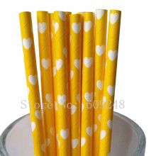 100pcs Yellow Heart Paper Straws,Eco Compostable Valentines Day Party Drinking Paper Straws Cake Pop Sticks Mason Jar Straws