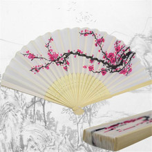 1PC Fashion Beautiful plum flower Folding Fan for party gift Delicate Japanese Plum Blossom Design Silk Costume Party Drop ship(China)
