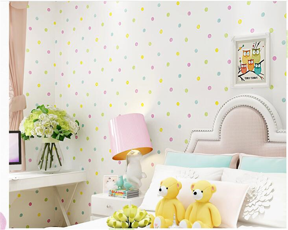beibehang Green Nonwovens Boys Girls papel de parede 3d Wallpaper Kids Room Bedroom Wallpaper Warm Cartoon Color Circle Point <br>