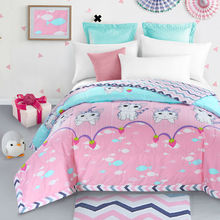 100% cotton lovely cat pink summer quilt 150*200cm 200*230cm thin comforter bedding(China)