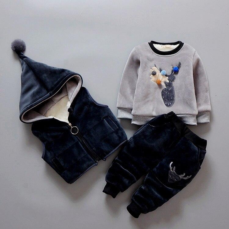 3Pcs/1 Lot 2017 Winter Baby Girls Boys Clothes Sets Children Cotton-padded Cotton Coat Vest Pants Kids Infant Warm Outdoot Suits<br>