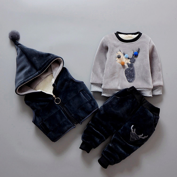 3Pcs/1 Lot 2018 Winter Baby Girls Boys Clothes Sets Children Cotton-padded Cotton Coat Vest Pants Kids Infant Warm Outdoot Suits<br>