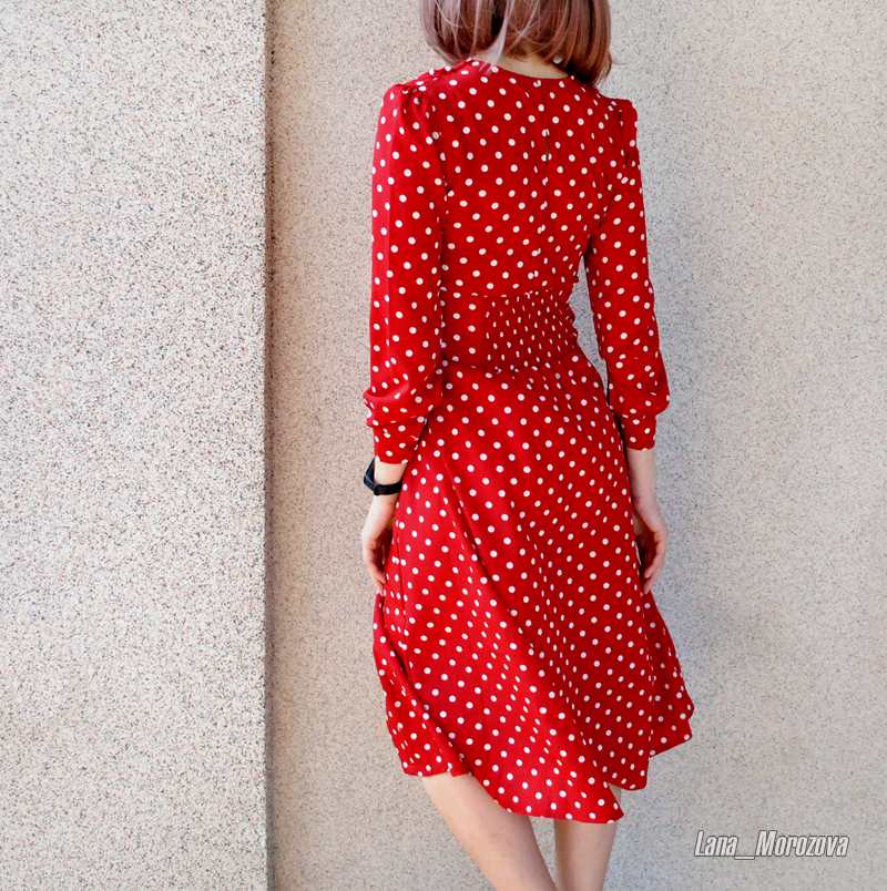 Flectit Vintage 80s Dress French Style Polka Dot Button Up Midi Dress Long Sleeve High Waisted Retro Holiday Dress Women 10