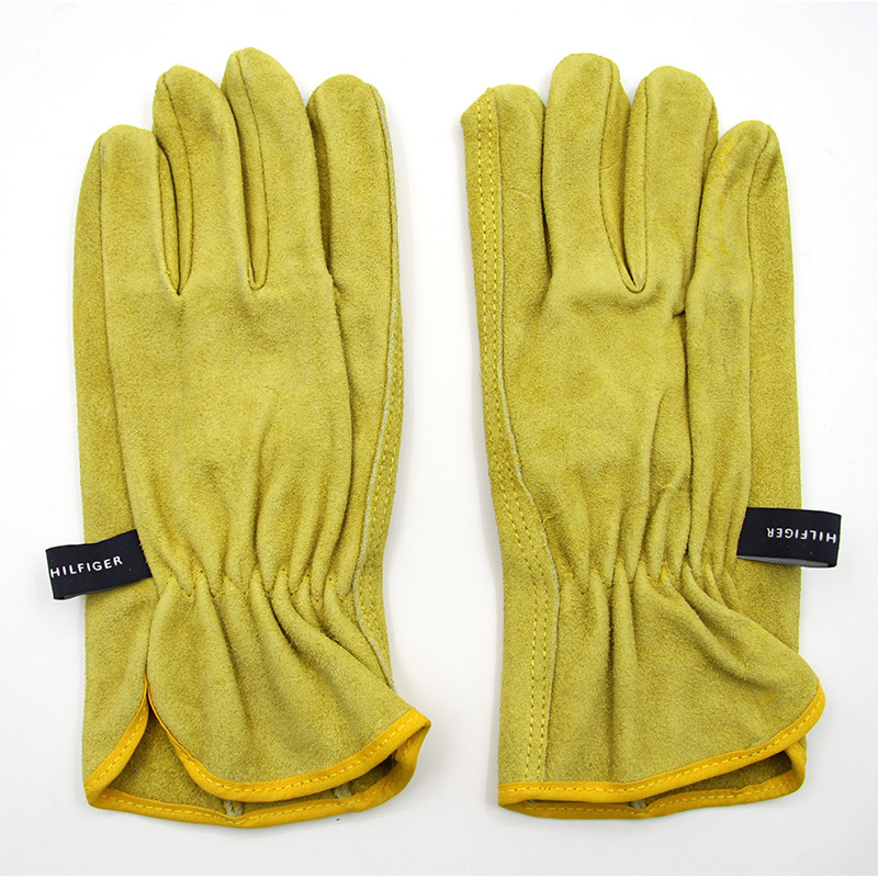 The new 2017 guantes trabajo yellow anti cut driving gloves second grade A cowhide gants travail hommes<br><br>Aliexpress