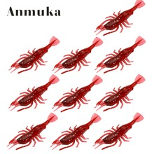 Anmuka 10pcs Soft Lure 80mm 3.6g Artificial Bait Red Shrimp Panfish Soft Bait Fishing Lure(China)
