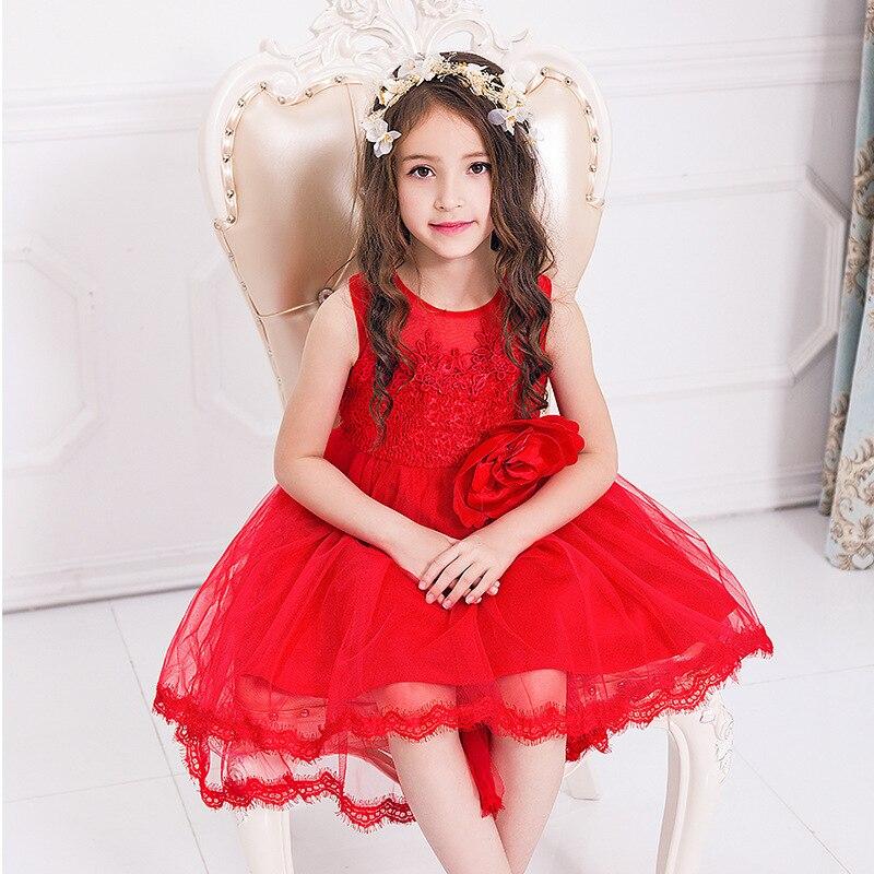 2017 Childrens Garment Lace Dress Coattail Sleeveless Princess Full Dress Fish Spring And Autumn Gauze Children<br>