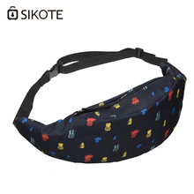 SIKOTE Colored Plants Pattern Woman Waist Packs Polyester Black Travelling Mobile Phone Bag Oxford Casual Wallet Bags(China)