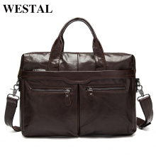WESTAL Genuine Leather Bag Men Bag Cowhide Men Crossbody Bags Men's Travel Shoulder Bags Tote Laptop Briefcases Handbags 9005