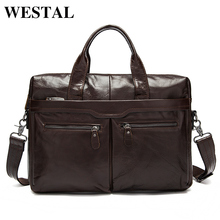 WESTAL Men Bag Genuine Leather Bag Men Crossbody Bags Messenger Men's Travel Shoulder Bags Tote Laptop Briefcases Handbags 9005(China)