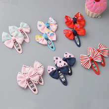 YYXUAN 2 pieces Girl Boutique Hair Bows Barrettes Clips For Kids Toddlers Girls Printing Bow Hairgrips(China)