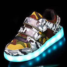 25-37 Size// USB Basket Led child Shoes With Light Up Kids Luminous Sneakers Children's Glowing Shoe enfant for Boys (China)