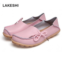 Women Flat Shoes Lace Up Plus Size Casual Women Shoes Moccasins Leather Shoes(China)