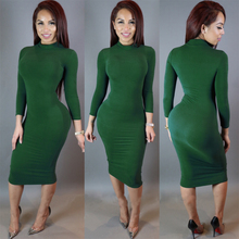 Women's Sexy Slim Fashion Europe Style High Neck Clubwear Night Wear Bodycon Dresses KH869765
