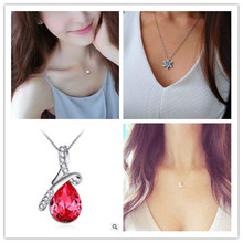 Fashion Austrian Crystal Water Drop Pendants&Necklaces Gold Colour Chain Necklace Fine Jewelry For Women x331hun