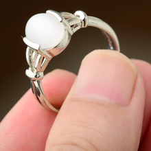 Size 7 8 9 Fashion Band Silver Color Hoop Ring Moonstone Womens Wedding Rings Jewelry Gifts  Without Box