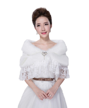 Elegant Warm Lace Faux Fur Bridal Wrap Shrug Bolero Coat Bridal Shawl with Diamond for Wedding Dress Bridal Gowns Winter Autumn