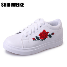 SHIDIWEIKE New Brand Flat Shoes Woman 2017 Spring Rose Embroidery Creepers Platform Shoes Black White Casual Women Shoes b957