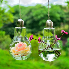 Cute Clear Glass Bulb Lamp Shape Flower Water Plant Hanging Vase Hydroponic Container Pot Office Wedding Decor
