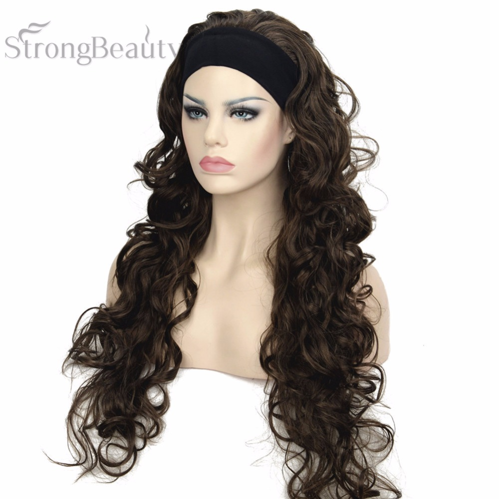 Brown Long 3/4 Womens Wigs Hairpiece Wavy Hair Piece with Headband Free shipping<br><br>Aliexpress