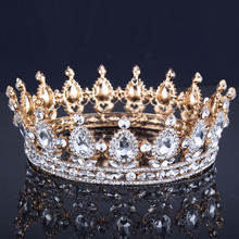 Luxury Vintage Gold Wedding Crown Alloy Bridal Tiara Baroque Queen King Crown gold color rhinestone tiara crown(China)