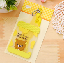 Kawaii NEW Silicone Milk Bottle Shape Rilakkuma Bear 12CM - Neck String BUS & ID Card Holder Case Pouch BAG