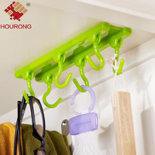 1pcs Kitchen Wall Door Cabinets Adhesive Hook Self-Adhesive Bathroom Sticky Hanger Six Hook Hanger Kitchen Accessories