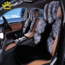 1pcs For Front car seat covers faux fox fur cute car interior accessories cushion styling winter new plush car pad seat cover 22(China)
