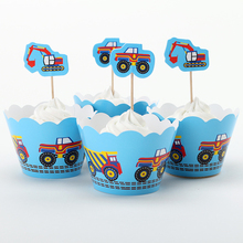 Car and Excavator Cupcake Wrapper Toppers For Boy Children Happy Birthday Party Decoration Cheap Christmas Ornament