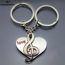 "Valentine Day  Souvenir Gift Trinket Cartoon letter ""Love "" Heart Music Note Silver Metal Car Key chains ring Keyfob Bag Pendant"