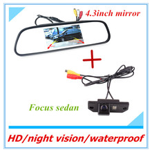Free shipping Car Rear view Camera Parking Back Reversing Camera For HD CCD Back camera for ford focus with 4.3inch car mirror(China)
