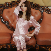 2017 New Spring Autumn Silk Pajamas Women Bowknot China Satin Sleepcoat & Pants Two Piece Sleepwear Girls Plus Size Pijamas Set