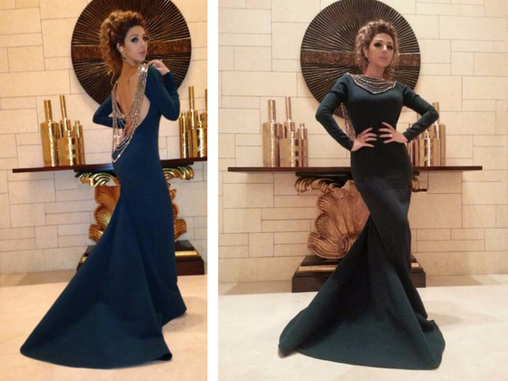 2018 sexy backless crystal vestido de festa long sleeve party prom gown mermaid evening gown mother of the bride dresses