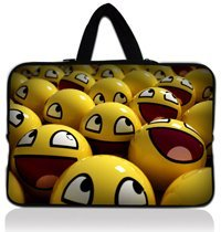 "15"" Yellow Smile Face Neoprene Laptop Soft Case Sleeve Bag Pouch+Hide Handle For 15""-15.6"" HP DELL Acer Sony Laptop PC"