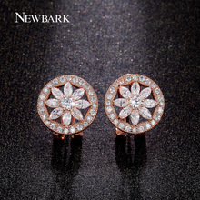 NEWBARK Flower Stud Earrings for Women Rose Gold Color Round Wheel Cubic Zircon Stone Wedding Earring Wholesale Jewelry Femme(China)