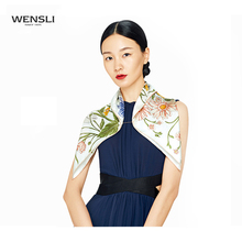 Wensli Fashion Twill Silk Square Scarf Flowers Pattern Ladies Pure Silk Scarves Women 2017 Hand Roll-Hemmed Neckerchief(China)