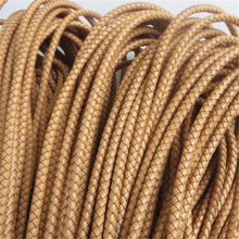 1 Meter 6mm Round Topaz Yellow Braided Real Genuine Leather Cord For Bracelet Making DIY Fashion Jewelry Findings