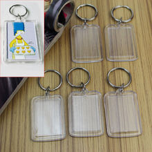 5pcs/Lot Rectangle Transparent Blank Acrylic Insert Photo Picture Frame Keyring Keychain DIY Split Ring Key Chain Gift