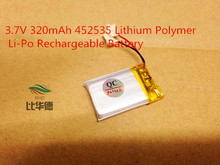 1pcs 3.7V 320mAh 452535 Lithium Polymer Li-Po Rechargeable Battery For DIY Mp3 MP4 MP5 GPS PSP bluetooth electronics part