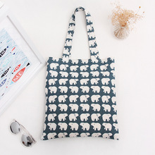 YILE Cotton Canvas Shopping Tote Shoulder Carrying Bag Eco Reusable Bag Print  White Bear  L068 NEW